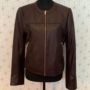 NWOT Via Spiga Bordeaux leather jacket